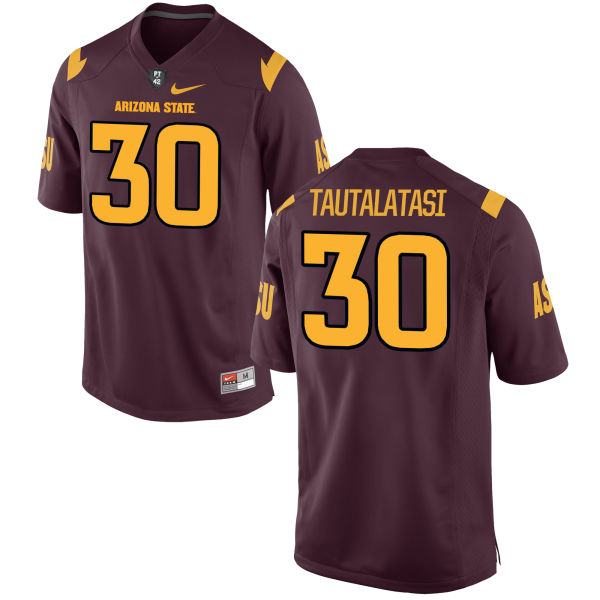 Men's Nike Dasmond Tautalatasi Arizona State Sun Devils Game Football Jersey Maroon
