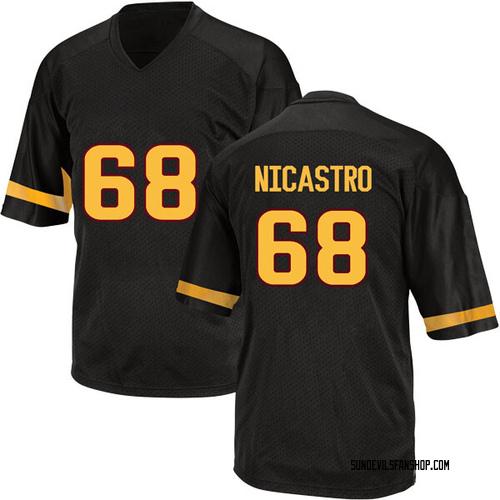 Men's Adidas Anthony Nicastro Arizona State Sun Devils Game Black Football College Jersey