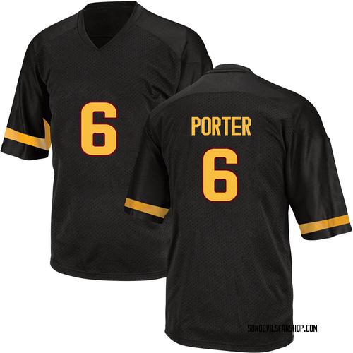 Men's Adidas Geordon Porter Arizona State Sun Devils Replica Black Football College Jersey