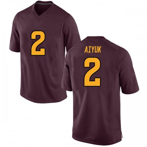 Men's Nike Brandon Aiyuk Arizona State Sun Devils Game Maroon Football College Jersey
