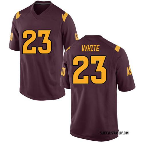 Men's Nike Romello White Arizona State Sun Devils Replica White Maroon Football College Jersey