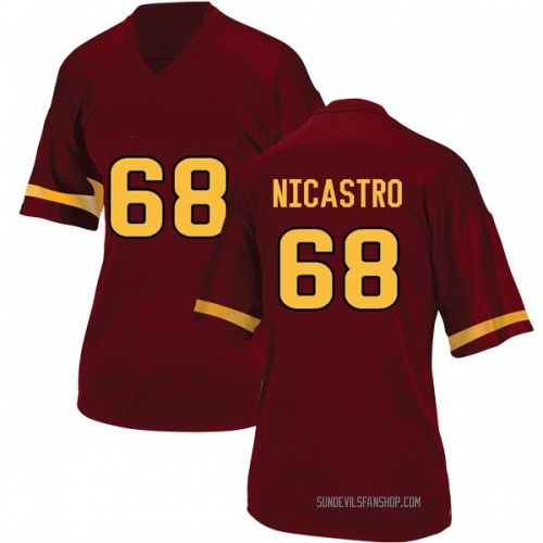 Women's Adidas Anthony Nicastro Arizona State Sun Devils Game Maroon Football College Jersey