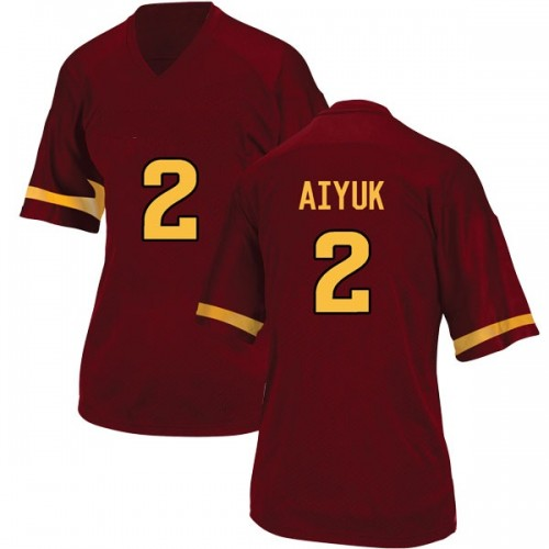 Women's Adidas Brandon Aiyuk Arizona State Sun Devils Game Maroon Football College Jersey