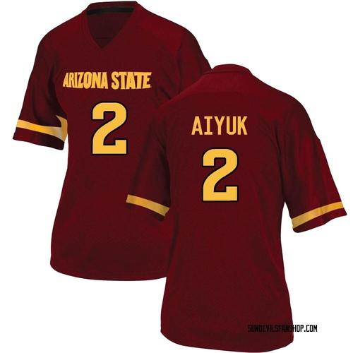 Women's Adidas Brandon Aiyuk Arizona State Sun Devils Replica Maroon Football College Jersey