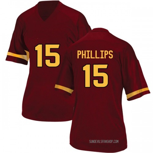 Women's Adidas Cam Phillips Arizona State Sun Devils Game Maroon Football College Jersey