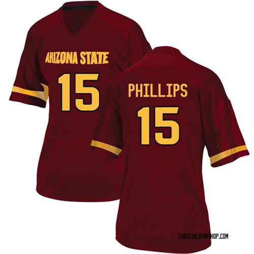Women's Adidas Cam Phillips Arizona State Sun Devils Replica Maroon Football College Jersey
