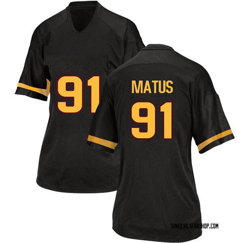 Women's Adidas Michael Matus Arizona State Sun Devils Game Black Football College Jersey