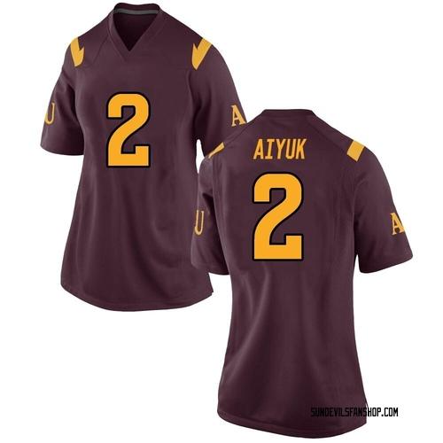 Women's Nike Brandon Aiyuk Arizona State Sun Devils Game Maroon Football College Jersey