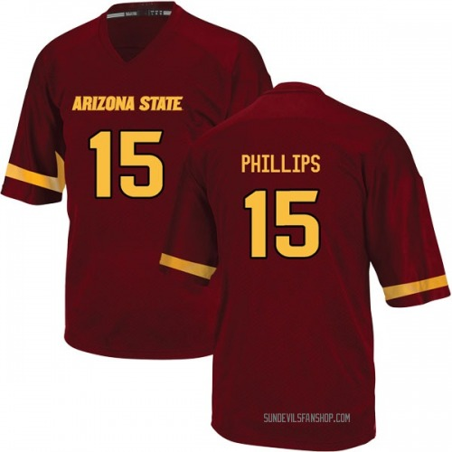 Youth Adidas Cam Phillips Arizona State Sun Devils Game Maroon Football College Jersey