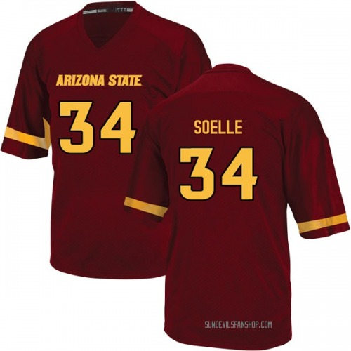 Youth Adidas Kyle Soelle Arizona State Sun Devils Game Maroon Football College Jersey